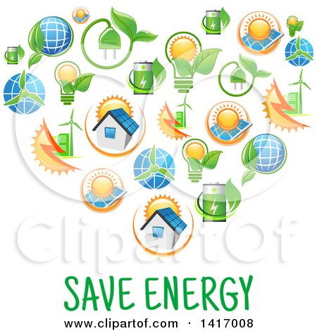 Clipart of a Heart Formed of Green Energy Icons - Royalty Free Vector Illustration by Vector Tradition SM