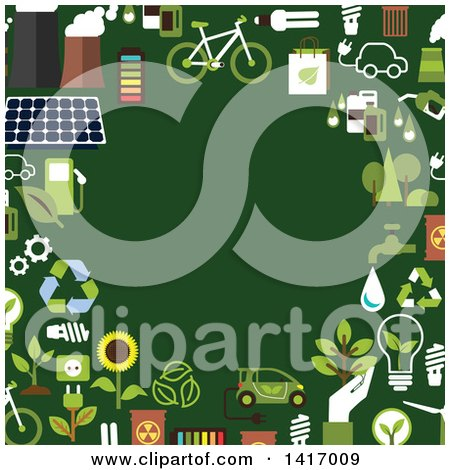 Clipart of a Border of Green Energy Icons - Royalty Free Vector Illustration by Vector Tradition SM