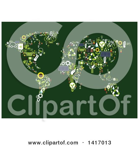Clipart of a Map Made of Green Energy Icons - Royalty Free Vector Illustration by Vector Tradition SM