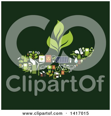 Clipart of a Hand Made of Green Energy Icons - Royalty Free Vector Illustration by Vector Tradition SM