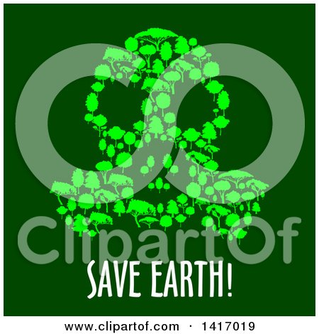 Clipart of a Gas Mask Made of Trees with Save Earth Text - Royalty Free Vector Illustration by Vector Tradition SM