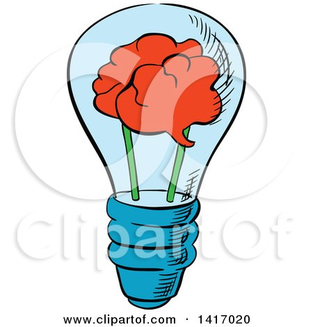 Clipart of a Sketched Light Bulb with a Brain - Royalty Free Vector Illustration by Vector Tradition SM