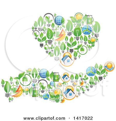 Clipart of a Heart and Hand Formed of Green Energy Icons - Royalty Free Vector Illustration by Vector Tradition SM