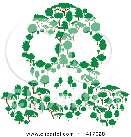 Clipart of a Gas Mask Made of Trees - Royalty Free Vector Illustration by Vector Tradition SM