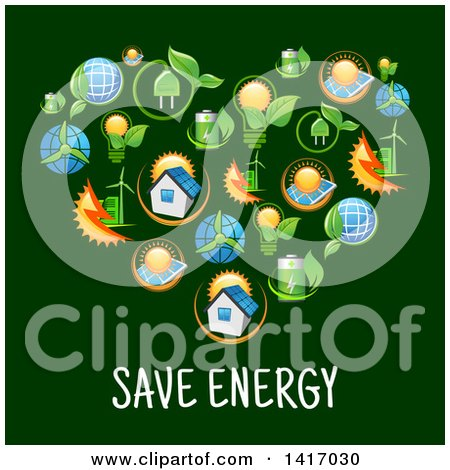 Clipart of a Heart Formed of Green Energy Icons over Text - Royalty Free Vector Illustration by Vector Tradition SM