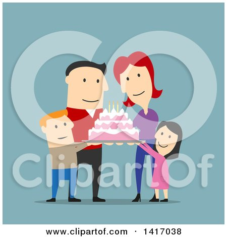 Clipart of a Flat Design Style Caucasian Family Celebrating a Birthday and Holding a Cake - Royalty Free Vector Illustration by Vector Tradition SM