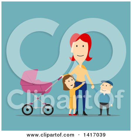 Clipart of a Flat Design Style Mother Strolling with Her Children - Royalty Free Vector Illustration by Vector Tradition SM
