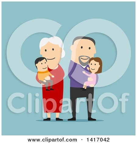 Clipart of a Flat Design Style Family with Senior Parents, or Grandparents - Royalty Free Vector Illustration by Vector Tradition SM