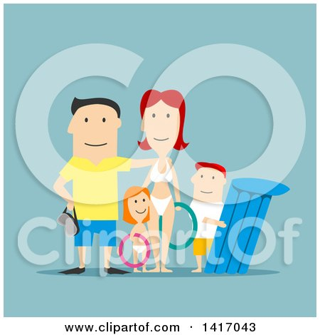 Clipart of a Flat Design Style White Family with Summer Beach Gear - Royalty Free Vector Illustration by Vector Tradition SM