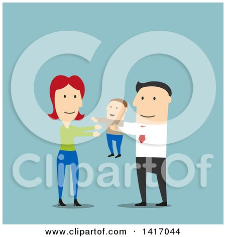 Clipart of a Flat Design Style Father Passing His Son to the Mother - Royalty Free Vector Illustration by Vector Tradition SM