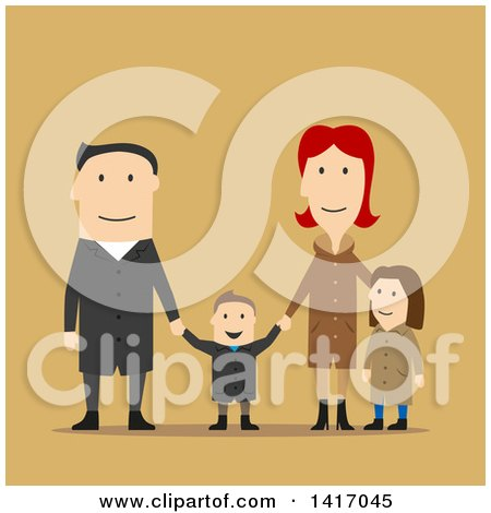 Clipart of a Flat Design Style Family in Winter or Fall Clothing - Royalty Free Vector Illustration by Vector Tradition SM