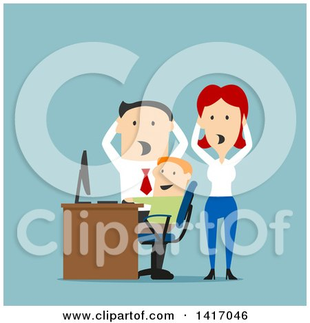 Clipart of Flat Design Style Parents Discovering Their Son Doing Inappropriate Things on a Computer - Royalty Free Vector Illustration by Vector Tradition SM