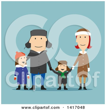 Clipart of a Flat Design Style Family in Winter Clothing, on Blue - Royalty Free Vector Illustration by Vector Tradition SM