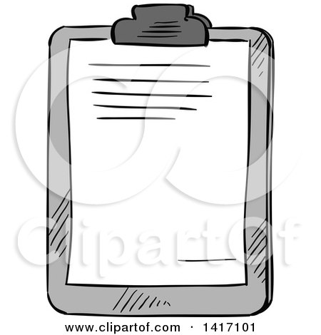 Clipart of a Sketched Clipboard - Royalty Free Vector Illustration by Vector Tradition SM