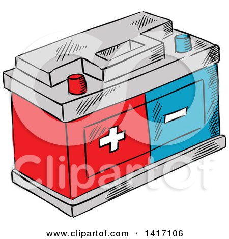 Clipart of a Sketched Battery - Royalty Free Vector Illustration by Vector Tradition SM