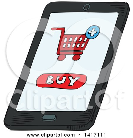 Clipart of a Sketched Smart Phone with a Buy Screen - Royalty Free Vector Illustration by Vector Tradition SM