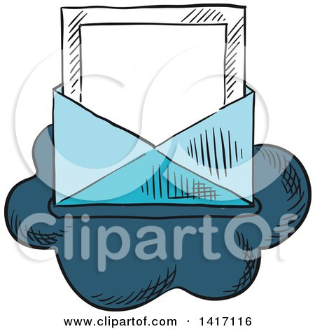 Clipart of a Sketched Email Envelope on a Cloud - Royalty Free Vector Illustration by Vector Tradition SM