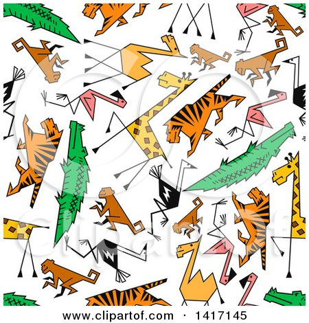 Clipart of a Seamless Background Pattern of Animals - Royalty Free Vector Illustration by Vector Tradition SM