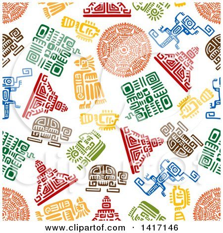 Clipart of a Seamless Background Pattern of Mayan Designs - Royalty Free Vector Illustration by Vector Tradition SM
