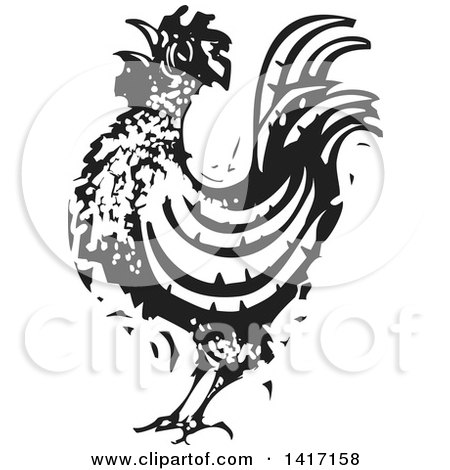 Clipart of a Black and White Woodcut Rooster Crowing ...