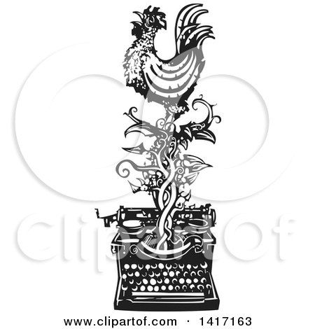 Black and White Woodcut Rooster Crowing on a Vine over a Typewriter Posters, Art Prints