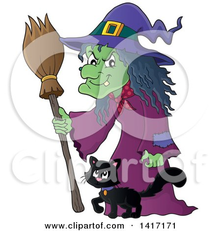 Clipart Of A Halloween Witch And Her Cat Royalty Free Vector Illustration