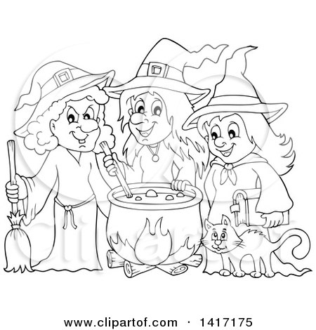 Clipart of a Black and White Lineart Group of Halloween ...