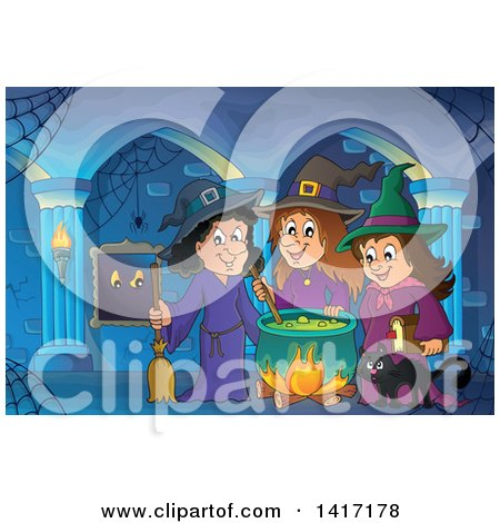 Clipart of a Group of Halloween Witches and a Cat Around a Cauldron in a Hallway - Royalty Free Vector Illustration by visekart