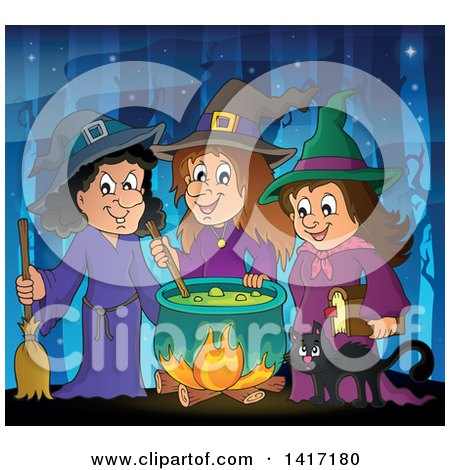 Clipart of a Group of Halloween Witches and a Cat Around a Cauldron in the Woods - Royalty Free Vector Illustration by visekart