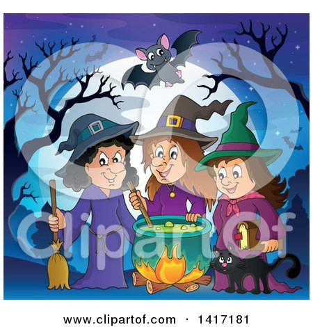 Clipart of a Group of Halloween Witches and a Cat Around a Cauldron Against a Full Moon - Royalty Free Vector Illustration by visekart