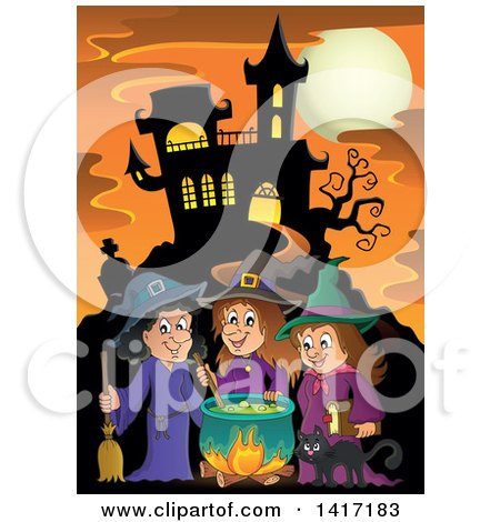 Clipart of a Group of Halloween Witches and a Cat Around a Cauldron near a Haunted Castle - Royalty Free Vector Illustration by visekart