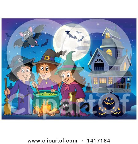 Clipart of a Group of Halloween Witches and a Cat Around a Cauldron near a Haunted House - Royalty Free Vector Illustration by visekart