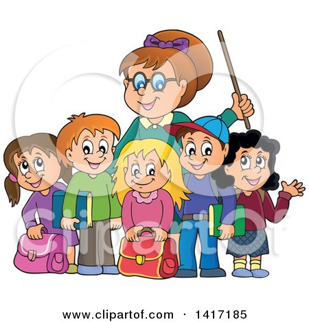 Clipart of a Female Teacher and Her Students - Royalty Free Vector Illustration by visekart