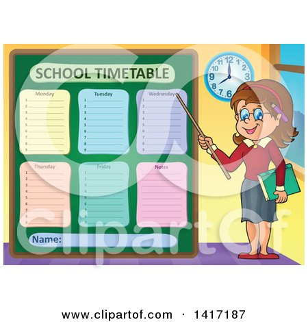 Clipart of a Female Teacher Presenting a School Timetable - Royalty Free Vector Illustration by visekart