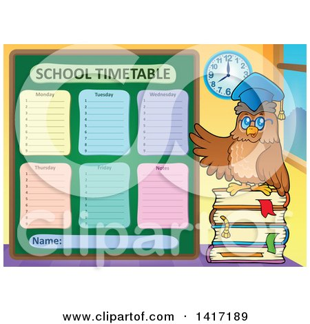 Clipart of a School Time Table and Haunted House - Royalty Free ...