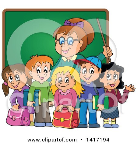 Clipart of a Female Teacher and Her Students in Front of a Chalk Board - Royalty Free Vector Illustration by visekart