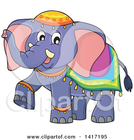 Clipart of a Cute Indian Elephant Walking - Royalty Free Vector Illustration by visekart