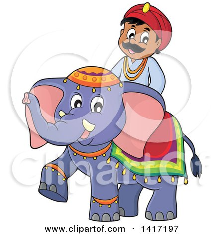 Clipart of a Happy Indian Man Riding an Elephant - Royalty Free Vector Illustration by visekart