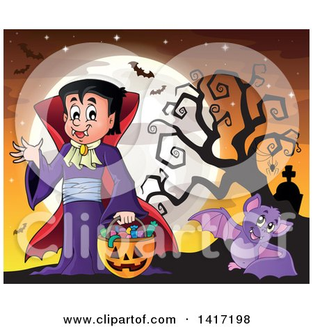 Clipart of a Halloween Dracula Vampire or Kid in a Costume, with Bats Against a Full Moon - Royalty Free Vector Illustration by visekart