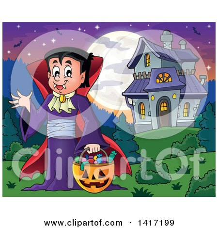 Clipart of a Halloween Dracula Vampire or Kid in a Costume, near a Haunted House - Royalty Free Vector Illustration by visekart