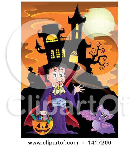 Clipart of a Halloween Dracula Vampire or Kid in a Costume, near a Haunted Castle - Royalty Free Vector Illustration by visekart