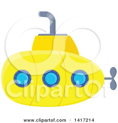 Clipart of a Yellow Submarine - Royalty Free Vector Illustration by visekart