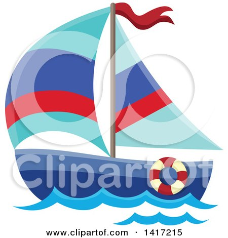 Clipart of a Sailboat - Royalty Free Vector Illustration by visekart