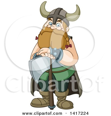 Clipart of a Cartoon Happy Chubby Male Viking Warrior Resting on an Axe - Royalty Free Vector Illustration by yayayoyo