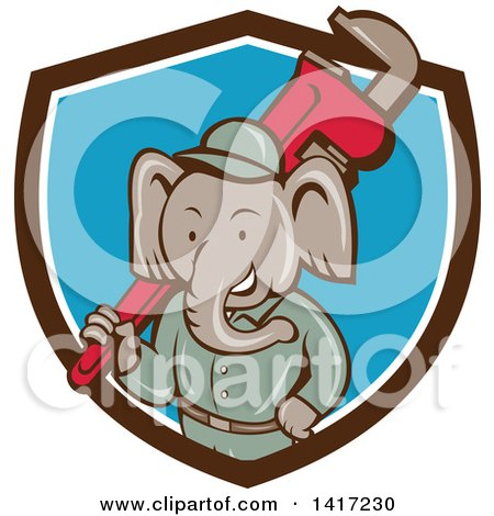 Clipart of a Retro Cartoon Elephant Man Plumber Holding a Giant Monkey Wrench, Emerging from a Brown White and Blue Shield - Royalty Free Vector Illustration by patrimonio