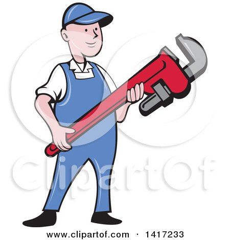 Clipart of a Retro Cartoon White Male Plumber or Handy Man Holding a Giant Monkey Wrench - Royalty Free Vector Illustration by patrimonio