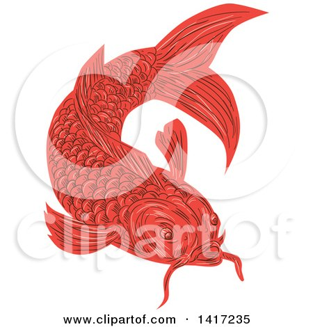 Clipart of a Sketched Red Swimming Koi Fish - Royalty Free Vector Illustration by patrimonio