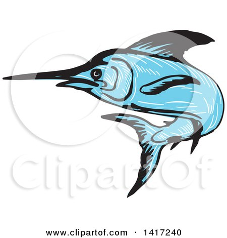Clipart of a Sketched Blue Marlin Fish Leaping - Royalty Free Vector Illustration by patrimonio