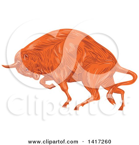 Clipart of a Sketched Angry Charging European Bison - Royalty Free Vector Illustration by patrimonio