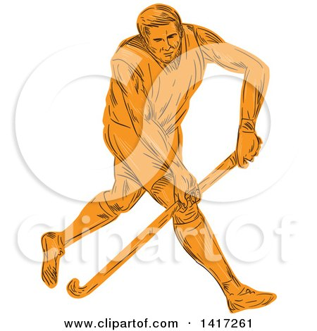 Clipart of a Sketched Orange Male Field Hockey Player - Royalty Free Vector Illustration by patrimonio